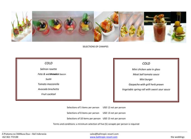Selections of Canapes